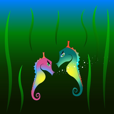 Seahorse boy and girl in the deep Stock Illustratie
