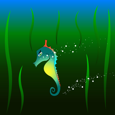 Seahorse boy with plants and bubbles in the deep