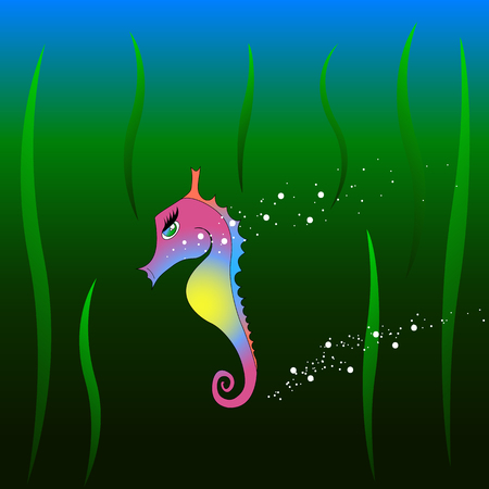 Seahorse girl with plants and bubbles in the deep Stock Illustratie