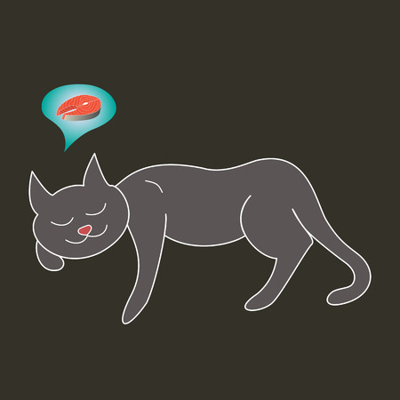 Gray cat with white outline laying asleep dreaming about red fish