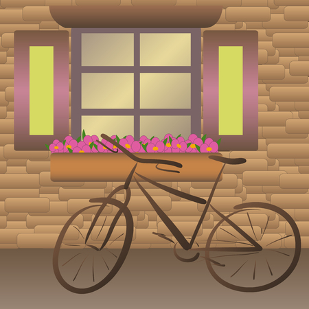 Brown city bike stands near the window with a pink flovers Banque d'images - 116291363