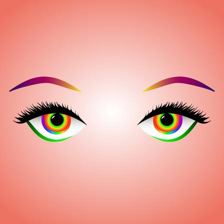 Rainbow colored eyes with long eyelashes and eyebrows Illustration