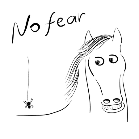 The horse is afraid of the spider on his back sketch