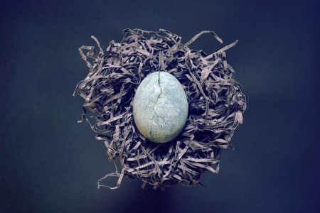 Blue egg, painted in tea hibiscus, lies on paper similar to a nest of hay on a blue background, with space for text, like dragon eggs and marble, top view