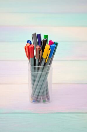 A set of multi-colored pens with caps in a transparent plastic case, stand on a rainbow background, vertically oriented