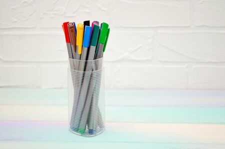A set of multi colored pens with caps in a transparent plastic case, stand on a rainbow background, vertically oriented