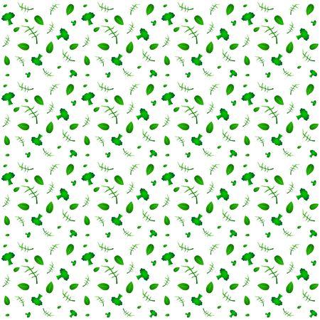 Organic vegetables vector seamless pattern, healthy garden eco vegetables. Broccoli, arugula, basil. Food white background