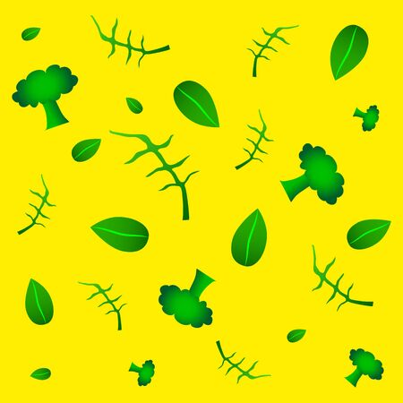 Organic vegetables vector pattern, healthy garden with eco vegetables. Broccoli, arugula, basil. Food yellow background