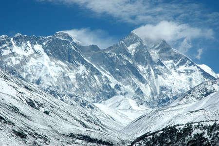 mount everest: Die Aussicht auf Ostwand des Mount Everest aus Tyangboche (Nepal Himalaya). Es gibt auch Lhotse und Nuptse Gipfeln an der Wand