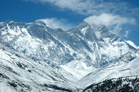 himalayas: The view of eastern wall of Mount Everest from Tyangboche (Nepal Himalayas). There are also Nuptse and Lhotse peaks on the wall