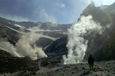 inwardly: Man goes inwardly crater of the vulcan