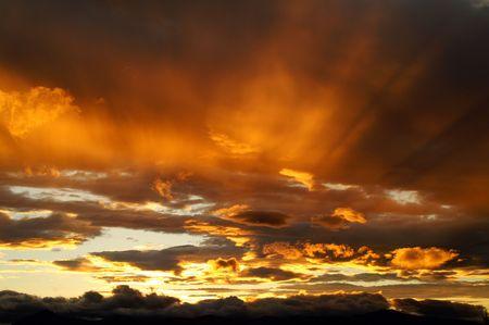 kamchatka: Un tramonto in Kamchatka vulcani paese.