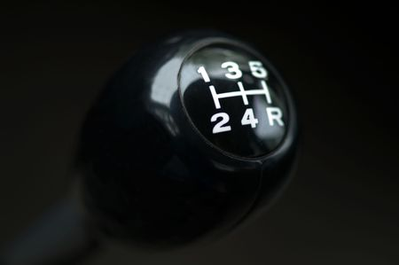 Close up of a car gear shift. Stick shift. photo