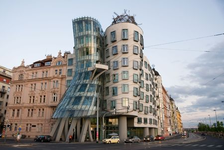 Dancing house building in downtown Prague, Czech Republic