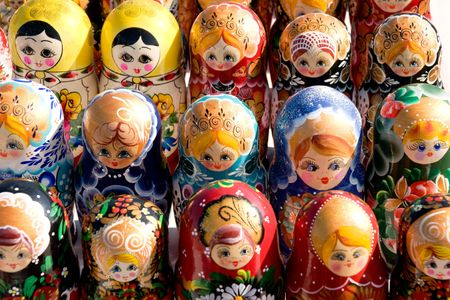 bright background from russian set of nesting dolls