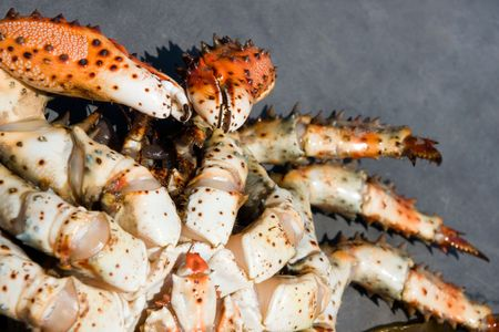 paunch:  paunch of prickly crab on gray background