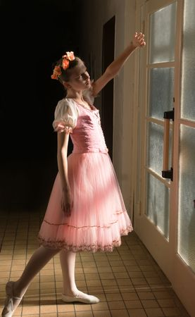pointe: young ballerina in tutu before appearance