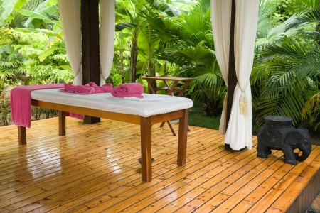 private area of the massage in tropical garden
