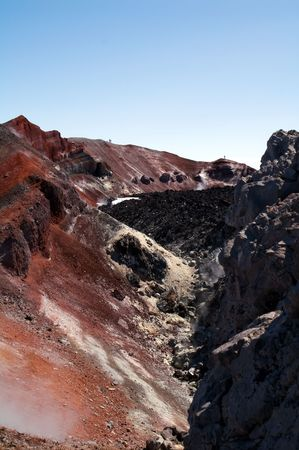 slag: people in crater of the volcano Avacha on Kamchatka Stock Photo