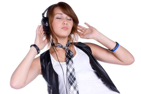portrait of the girl listenning music in headphones Stock Photo