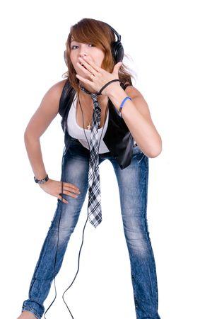 portrait of the girl listenning music in headphones Stock Photo - 5479534