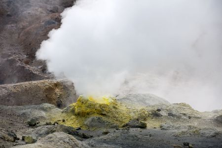 vapour: volcanic vents with smoke, sulphur and ash. Kamchatka Stock Photo