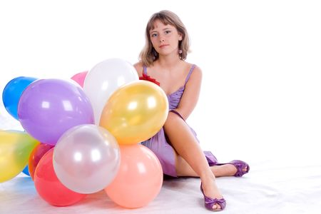 portrait of the girl with colorful balloons on white background Stock Photo - 5553785