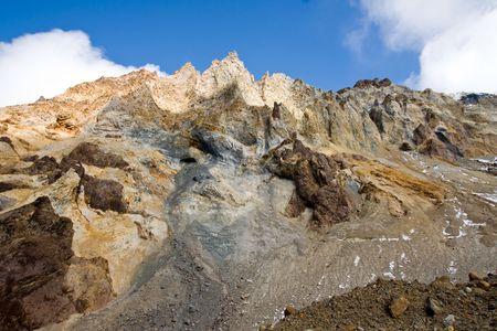 kamchatka: cratere del vulcano Mutnovsky su Kamciatka