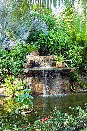 cascades: kleine waterval in tropische tuin