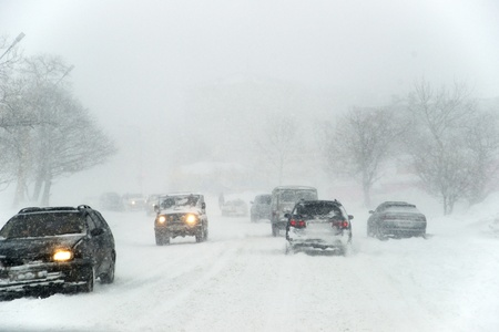 Cars in snowy day