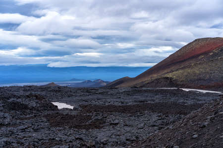 Tolbachinsky dol. The territory of the eruption 2012-2013 of the Plosky Tolbachik volcano. Solidified lava. Lava field. Russia. Kamchatka.