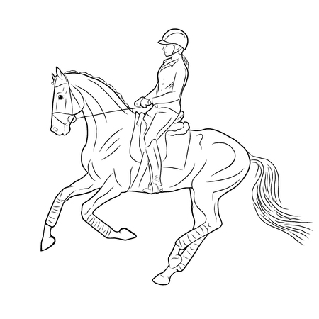 A sketch of a rider on a horse.