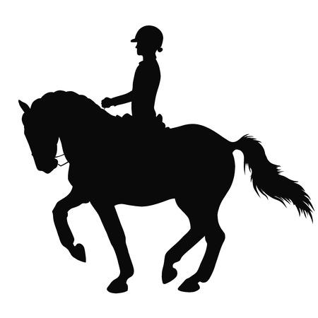 Een silhouet van een dressuurruiter op een paard.