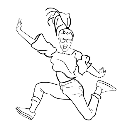 A vector illustration of a jumping girl.
