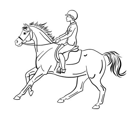 Equestrian. An illustration of a boy riding on a pony.