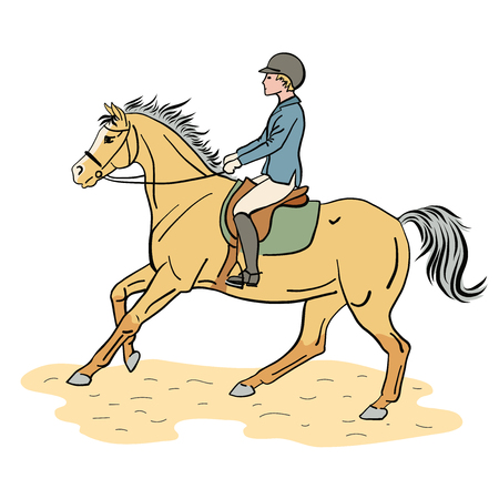 Equestrian sport. A color illustration of a boy riding on a pony.