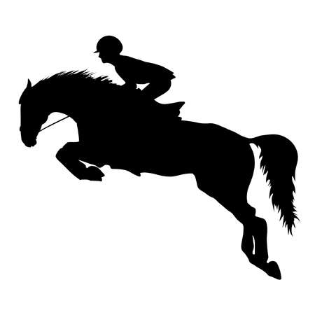 Equestrian sport, show jumping.  illlustrarion of a rider on a horse.