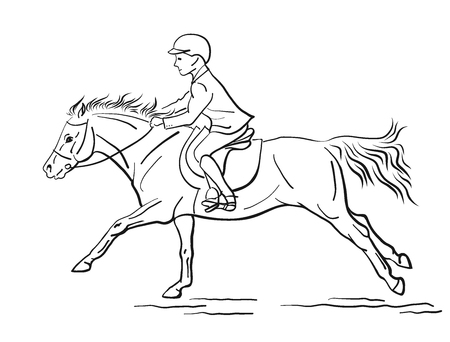 Young rider riding on a pony.