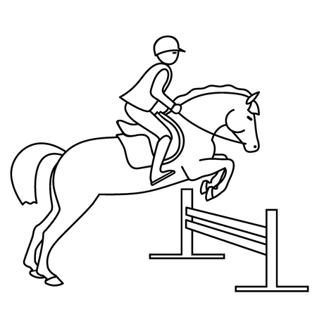 Young rider on a pony overcomes the barrier. Vettoriali