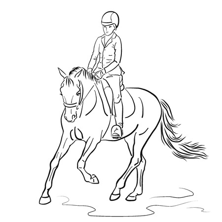 Vector Illustration Of a Kid Riding on a pony. Vector Illustratie