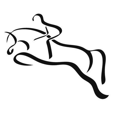 Sport equestre. Un logo di un cavallo e un cavaliere.