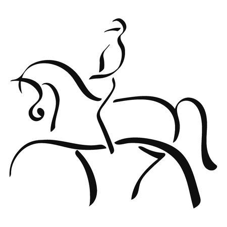 Pferdesport, Dressur. Ein Logo eines Pferdes und eines Reiters.