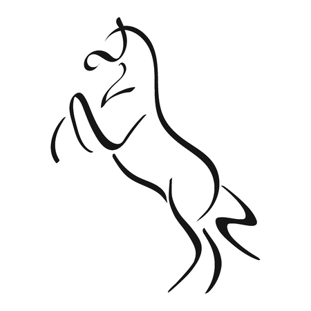 A logo of the horse standing on its hind legs.