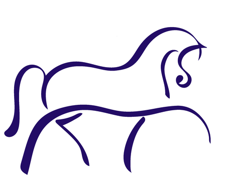 A logo of the trotting horse.