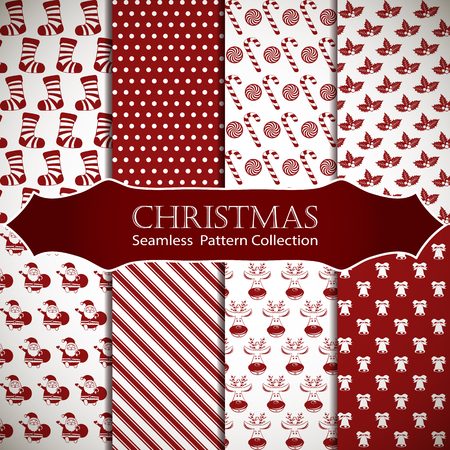 holiday celebrations: Merry Christmas and Happy New Year. Set of winter holiday backgrounds. Collection of seamless patterns with red and white colors. Vector illustration. Illustration