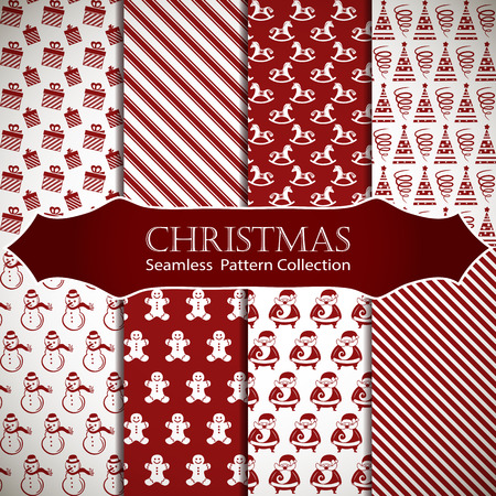gee: Merry Christmas and Happy New Year. Set of winter holiday backgrounds. Collection of seamless patterns with red and white colors. Vector illustration. Illustration
