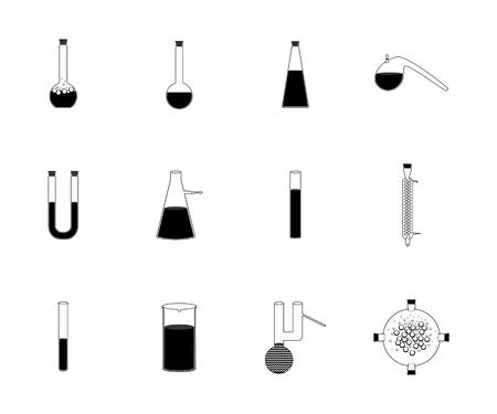 chemically: illustration icons set of chemistry, physics, biology laboratory apparatus. Chemical test tubes  icons illustration