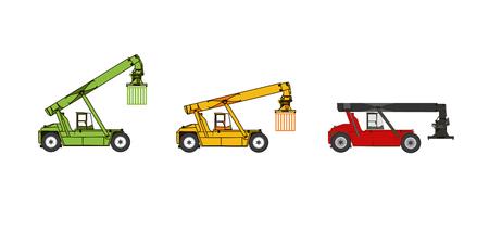 Hafenausrüstung. Reach Stacker - Containerstapler mit unterschiedlichen Höhen Mast