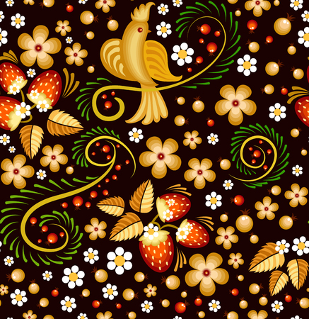 red leaves: Seamless pattern in Khokhloma style - traditional Russian painting, with bird, strawberry and flowers on a black background.