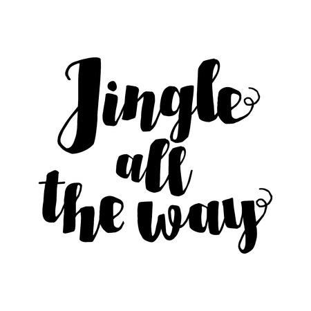 music lyrics: Tintineo hasta la cita inspirada Camino canción de Navidad. letras de la mano de tinta aislado en fondo blanco. Telón de fondo tipográfico. Tarjeta postal, cartel, la camiseta, el diseño textil. Ilustración del vector.